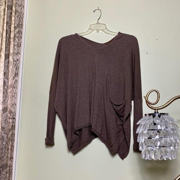 Kerisma Sweaters - kerisma brown asymmetrical sweater